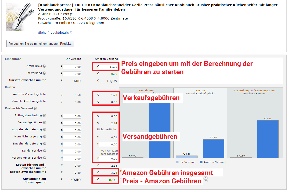 Amazon FBA Rechner Mit dem Amazon FBA Calculator die Amazon Gebühren für Versand durch Amazon berechnen
