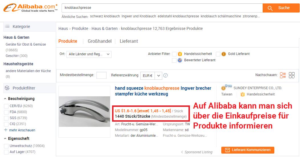 Mit Alibaba Einkaufpreise für Versand durch Amazon Produkte bestimmen